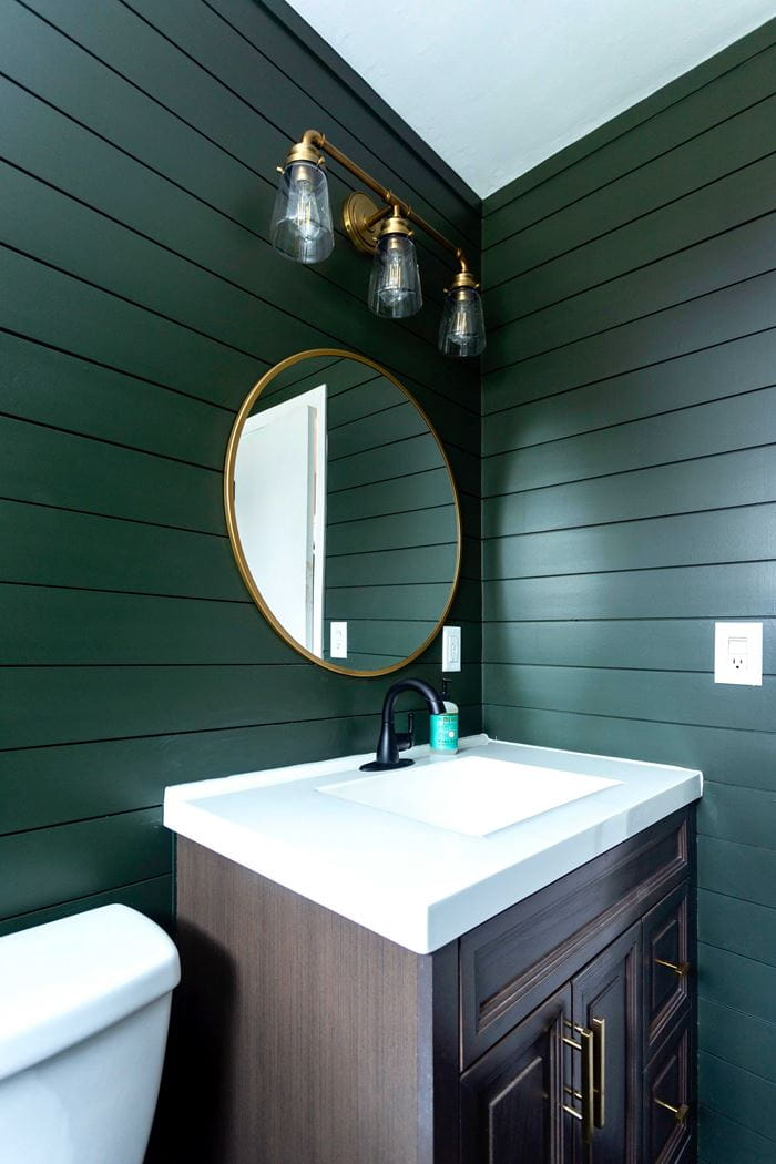 Timeless Primed Shiplap Emerald Green Gold Mirror