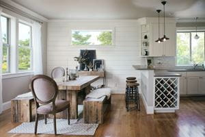 Timeless Farmhouse White shiplap dining room and kitchen