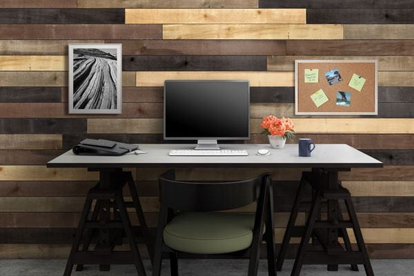 Weathered Wood Accent Boards Home Office