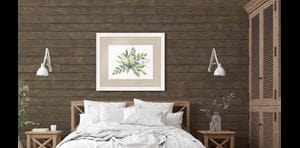 Scandinavian bedroom with Rustic Dark Brown shiplap accent wall