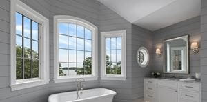 Timeless Granite Gray shiplap bathroom tub