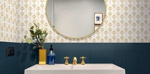 Timeless Blue Shiplap bathroom with gold wallpaper